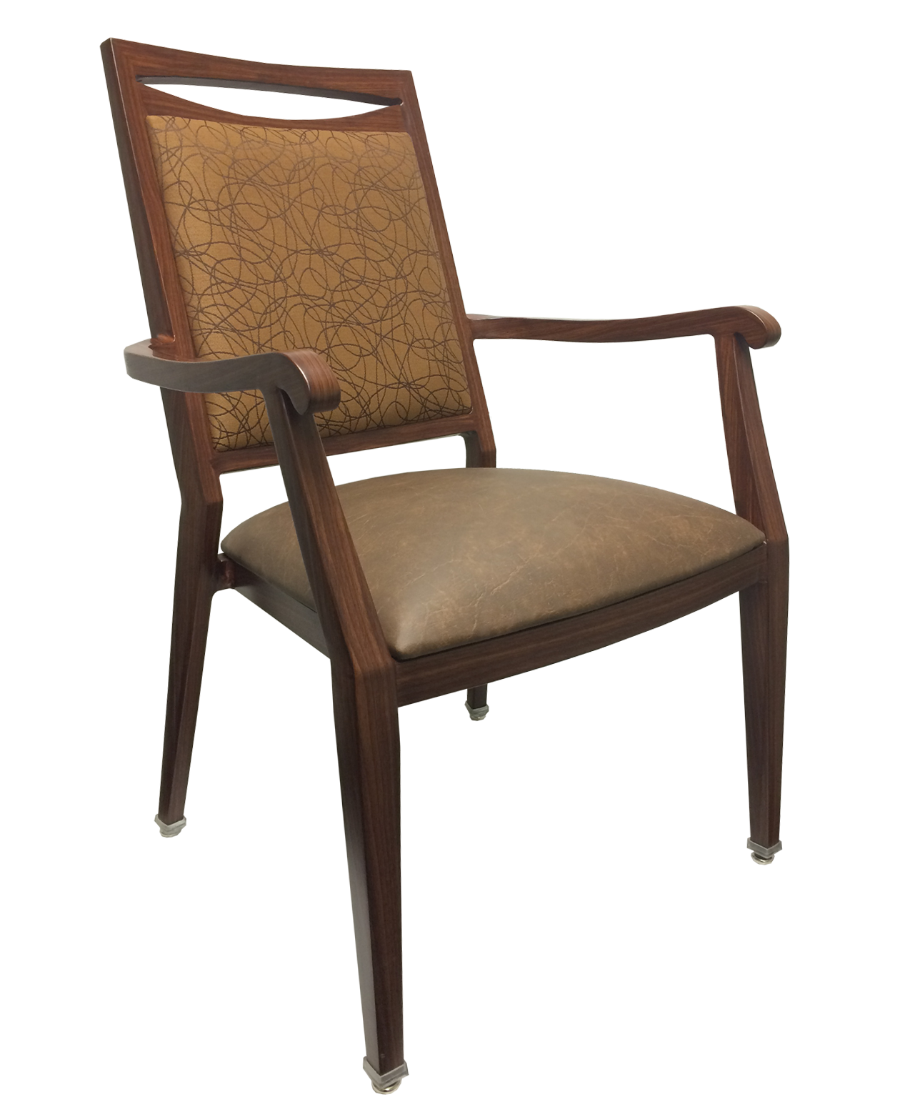 Aluminum Wood-Grain Dining Chairs