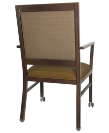 AC-709 McMahon ALuminum Arm Chair Rear View with Casters